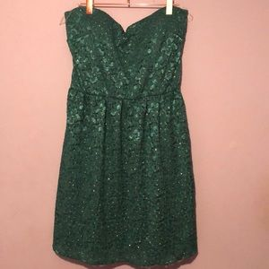 ModCloth Green Strapless Dress w/ Gold Glitter